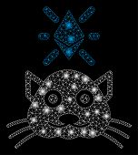 Bright Mesh Crypto Kitty With Glare Effect. Abstract Illuminated Model Of Crypto Kitty Icon. Shiny W poster