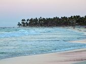 stock photo of greater antilles  - evening scenery including sea and beach at the Dominican Republic a island of Hispanola wich is a part of the Greater Antilles archipelago in the Carribean region - JPG