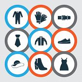 Clothes Icons Set With Gumshoes, Belt, Sundress And Other Female Winter Shoes Elements. Isolated Vec poster
