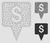Mesh Dollar Map Pointer Model With Triangle Mosaic Icon. Wire Carcass Polygonal Network Of Dollar Ma poster