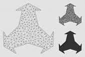 Mesh Directions Model With Triangle Mosaic Icon. Wire Frame Triangular Network Of Directions. Vector poster
