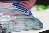 Document Management Concept: Applicant Filing File Of Pile Documents Reports Papers Company Applicat poster
