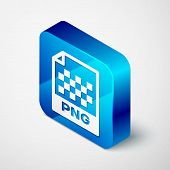 Isometric Png File Document Icon. Download Png Button Icon Isolated On White Background. Png File Sy poster