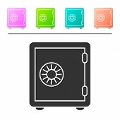 Grey Safe Icon Isolated On White Background. The Door Safe A Bank Vault With A Combination Lock. Rel poster