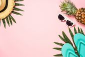 Summer Flat Lay Background. Beach Accessories With Palm Leaves, Flip Flops, Pineapple, Sunglasses, H poster