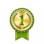 Award Ribbon Gold Icon Number First. Design Winner Golden Green Medal 1 Prize. Symbol Best Trophy, 1 poster