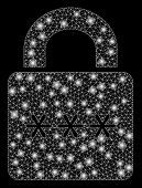 Bright Mesh Digital Lock With Glow Effect. Abstract Illuminated Model Of Digital Lock Icon. Shiny Wi poster