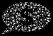 Bright Mesh Dollar Message Balloon With Lightspot Effect. Abstract Illuminated Model Of Dollar Messa poster
