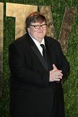 LOS ANGELES - FEB 26:  Michael Moore arrives at the 2012 Vanity Fair Oscar Party  at the Sunset Tower on February 26, 2012 in West Hollywood, CA