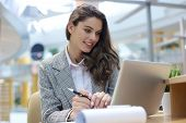 Portrait Of A Young Blond Business Woman Using Laptop At Office. poster