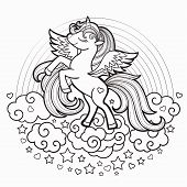 Cute Rainbow Unicorn. Black And White. Vector Illustration For Coloring Book. For Design Prints, Pos poster