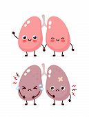 Sad Suffering Sick Cute And Healthy Happy Smiling Lungs Character. Vector Flat Cartoon Illustration  poster