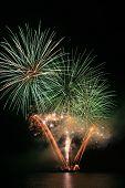 Green And Orange Fireworks