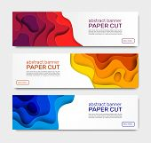 Paper Cut Banners. Abstract Paper Shapes, Curved Layers With Shadow. Geometric Wave Cutting Papers A poster