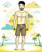 Handsome Brunet Man With Beard And Whiskers Poses On Tropical Beach In Shorts. Vector Character. Sum poster