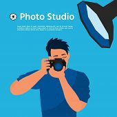 Photographer Using Professional Camera In The Studio. Photo Studio. Vector Illustration. Banner Desi poster