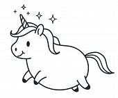 Cute Fat Unicorn Simple Doodle Cartoon Character Vector Illustration. Simple Line Black And White Ic poster