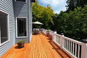 New Red Cedar Outdoor Wooden Deck During Nice Weather In Horizontal Layout poster
