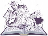 Dragon And Funny Hero Open Book Illustration. Russian Three Headed Snake Gorynych And Knight poster
