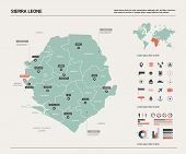 Vector Map Of Sierra Leone;. Country Map With Division, Cities And Capital Freetown. Political Map,  poster