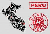 Composition Of Mosaic Power Supply Peru Map And Grunge Seals. Mosaic Vector Peru Map Is Designed Wit poster