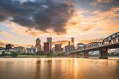 Portland, Oregon, USA skyline at dusk on the Willamette River.  poster