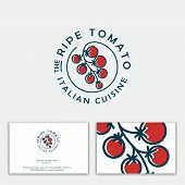 Ripe Tomato Logo. Italian Cuisine Emblem. Bunch Of Cherry Tomatoes On A Circle. Identity. Business C poster