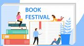 Book Festival Concept Of A Small People Reading A Open Huge Book. Colorful Stacks Of Books With Smal poster