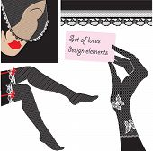 image of woman body  - Set of lace elements for design  - JPG