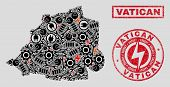 Composition Of Mosaic Power Supply Vatican Map And Grunge Stamp Seals. Mosaic Vector Vatican Map Is  poster