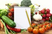 Shopping List With Basket And Vegetables