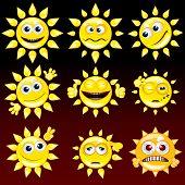 Collection of Funny Cartoon Sun Smiley, vector icon set