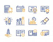 Technical Info, Crowdfunding And Instruction Info Icons Simple Set. Diploma, Calendar And Calculator poster