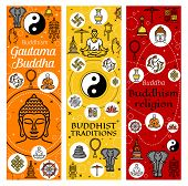 Buddhism Religion Banners Of Buddhist Meditation And Buddhist Tradition Icons. Vector Dharma Wheel,  poster