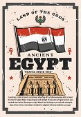 Ancient Egypt Travel Company Vintage Poster, Egyptian Historic Sightseeing And Landmark Tours. Vecto poster