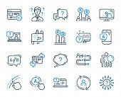 Ux Line Icons. Set Of Ab Testing, Journey Path Map And Question Mark Icons. Usability Quiz Test, Ux  poster
