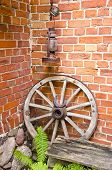Antique Wooden Carriage Wheel And Kerosine Lamp