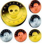Coin Or Token Set With Skull