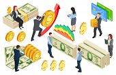 Financial, Banking, Credits Isometric Vector Concept With Coins And Money. Illustration Of Money Fin poster