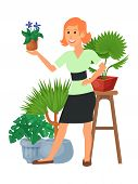 House Florist Woman Flowers Indoor Floriculture Vector Illustration. Nature Home Decoration Gardenin poster