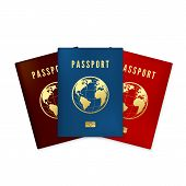 Set Of Biometric Blue Brown And Red Passports Cover. Identity Document With Digital Id. Golden Text  poster