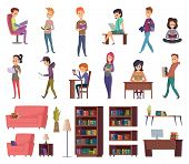 Students With Books. People In Library Reading In Bibliotheque School Knowledge Characters Vector Il poster