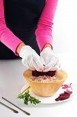 Raw Vegan Food Preparing. Raw Food Concept  Bamboo Bowl. Vegan Food Preparing poster