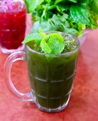 Vegetable And Herb, A Glass Of Fresh Green Medicinal Centella Asiatica, Asiatic Pennywort, Thankuni  poster