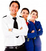 stock photo of cabin crew  - Friendly cabin crew smiling  - JPG
