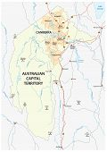 Map Of The Australian Capital Territory With The Capital Canberra poster
