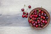 Fresh Cherry On Plate On Wooden Grey Background. Fresh Ripe Cherries. Sweet Cherries. Sweet Cherries poster