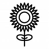 Sunflower With A Stem Icon. Outline Sunflower With A Stem Vector Icon For Web Design Isolated On Whi poster