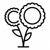 A Pair Of Sunflowers Icon. Outline A Pair Of Sunflowers Vector Icon For Web Design Isolated On White poster