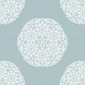 Damask Orient Ornament. Classic Vintage Background With White Round Elements. Classic Seamless Patte poster